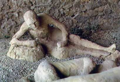 "On August 24, 79 AD, Mt. Vesuvius in Pompeii, Italy exploded in a volcanic eruption. Tons of molten ash, pumice and sulfuric gas went miles into the atmosphere. In the 1800's, Archeologists were able to make casts of the bodies from the victims by filling the cavity with liquid plaster then carefully chipping away the lava, eventually to reveal a perfect cast of the body. Some people think these bodies are of ""Petrified"" humans, however they are NOT petrified."