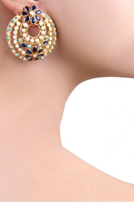 Silver Round Flower Earrings