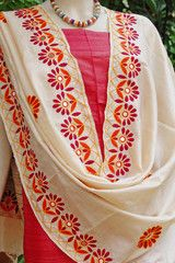 Exclusive Kutch Work Tussar Silk dupatta - India1001.com