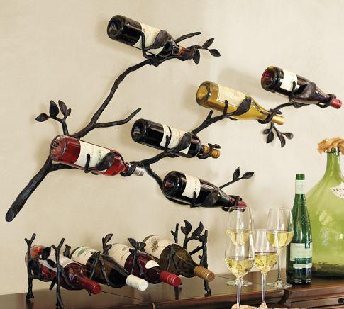 Wall art.: Wall Mount Wine, Wine Racks, Idea, Winerack, Branch Wall Mount, Wine Bottles, Pottery Barn, Wine Storage