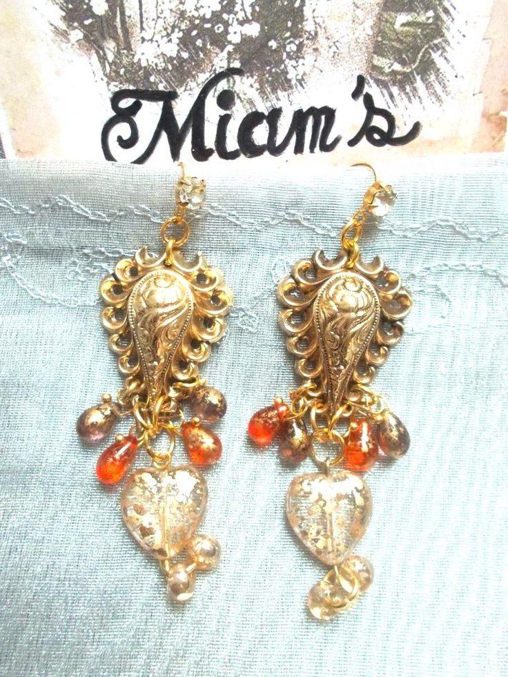 boucles d'oreille vintage baroque laiton et perles en verre de bohème