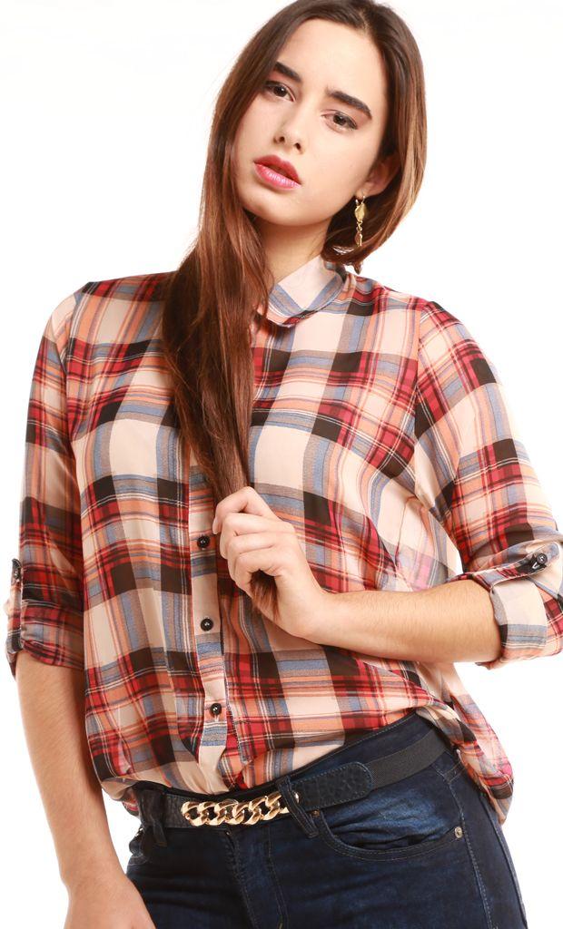 Camisa confeccionada en un género de gasa y con mangas largas ajustables a 3/4 y canesú. Se presenta en una estampa con motivo tartán y en diferentes tonos. Más info: http://www.fashion-delivery.com/index.php?id_product=374&controller=product