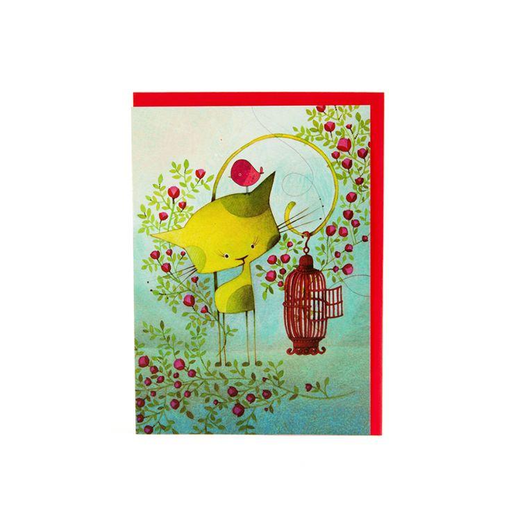 Pour célébrer en couleur! // Carte Oiseau en Cavale KETTO Card Bird on the Run // Sans inscription. // Blank. // #Carte #Card #Ketto