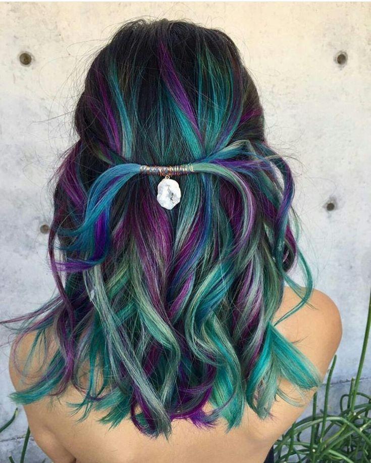 Blue Green Purple Boho Hair Peacock Hair Color Bright Hair Hair Styles