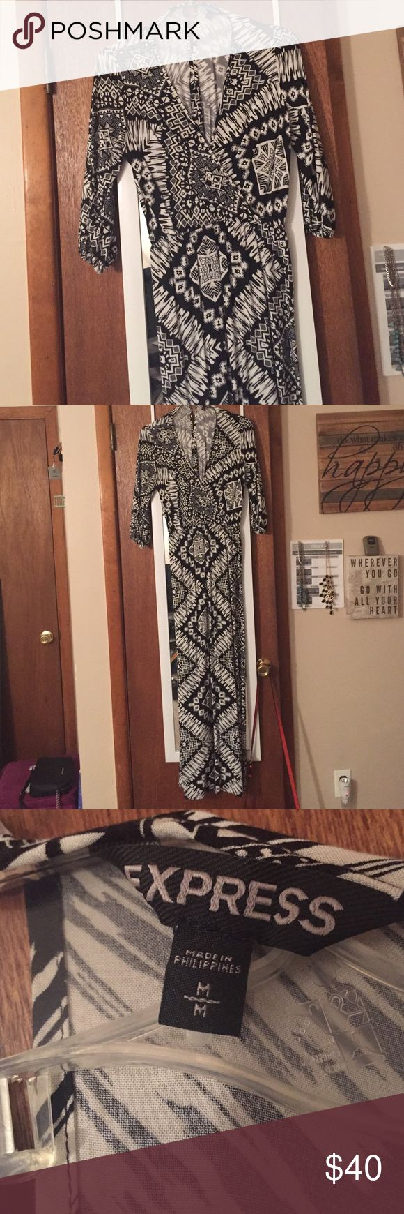 Final: Express Maxi Dress Size M- can a size L. elegant Aztec patterned maxi dress that can be worn to many events (classy, work, going out, &etc) • 3/4 sleeve • elastic waistband • there is a hook near the neckline to make the deep neckline more secure • keyhole back •from a pet/smoke free environment •11/14 Express Dresses Maxi