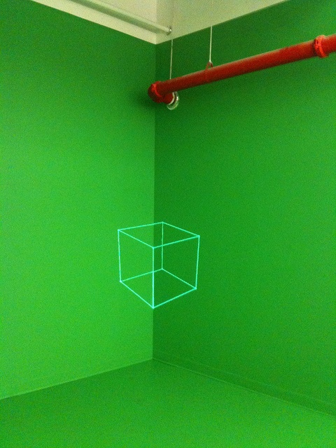 false perspective cube on green