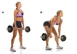 Dead Lifts. Great for glutes, hamstrings & lower back. ( I love dead lifts&good mornings!)