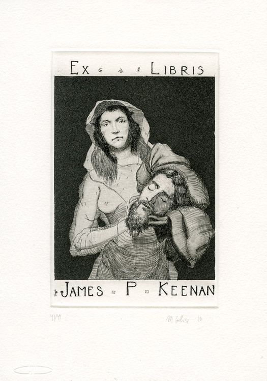 Ex Libris for James P Keenan, aquatint, drypoint and etching, 10cm x 15cm by Matthew James Collins