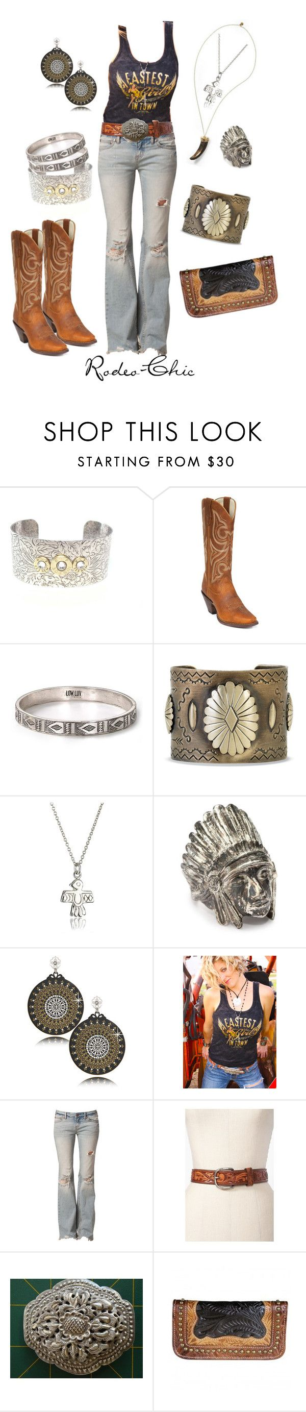 """Fasest Girl In Town"" by rodeo-chic ❤ liked on Polyvore featuring Durango, LowLuv, House of Harlow 1960, Chibi Jewels, LK Designs, Junk Gypsy, Free People, distressed jeans, distressed denim and cowboy boots"