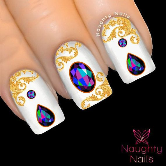 BLACK OPAL Gemstone Nail Water Transfer Decal Sticker Crystal Cabachon Tattoo NNC-137