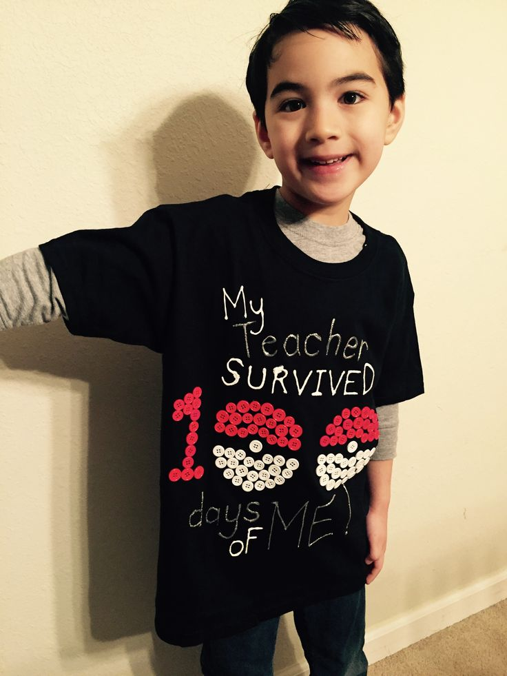 Pokemon 100 days of school shirt. To celebrate the 100th day of school, I created this shirt using 100 red and white buttons. Since my boy likes Pokémon, I incorporated Pokémon ball to the design as a number zero. His teachers love it!! (No wonder why)