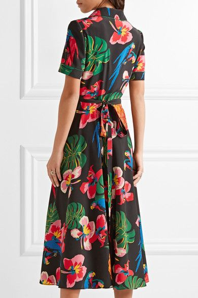 Valentino - Printed Silk Crepe De Chine Shirt Dress - Black - IT46