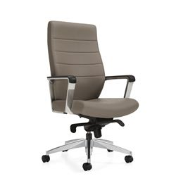 luray knee tilter leather office chair by global - Leather Office Chairs