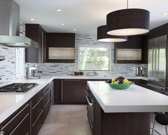 White countertops and tile backspash/walls: Dreams Kitchens, Lights Fixtures, Design Trends, Dark Cabinets, Back Splash, Kitchens Ideas, White Countertops, Kitchens Cabinets, Modern Kitchens Design