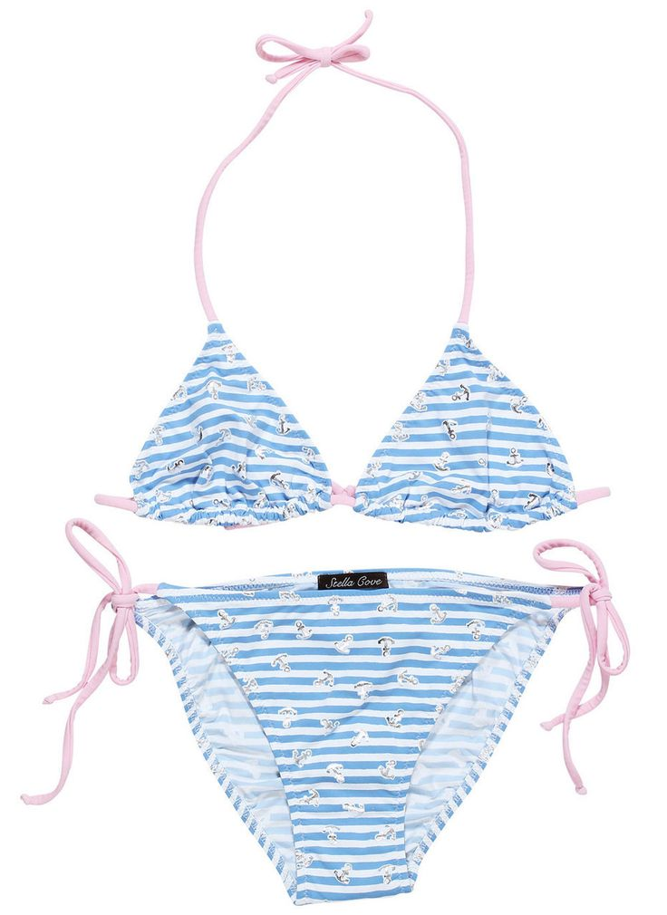 Shop At Stella Cove | Striped Light Blue Bikini For Tween Girls