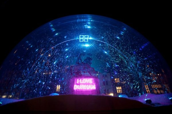 'I Love Durham', Jacques Rival, Lumiere Durham 2011. A giant snow globe with this neon message was erected to cover Durham's statue of the 3rd Marquess of Londonderry, complete with fake snow!  Photo by Matthew Andrews.