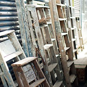 28 DIY salvage makeovers | Before: Ladder, lumber, dresser drawer | Sunset.com--This ragtag group of castoffs from the salvage yard may not look too pretty, but the strong wood still holds some potential.