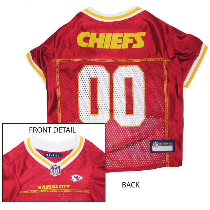 Collar Planet - Kansas City Chiefs NFL Licensed Pet Dog Football Jersey (http://www.collarplanetonline.com/kansas-city-chiefs-nfl-licensed-pet-dog-football-jersey/) Get ready for some football! Show support for the Kansas City Chiefs with this great looking football dog jersey which features a screened-on city name and a small team logo on the front.
