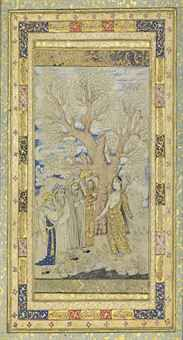 THE TEMPTATIONS OF BEAUTY ASCRIBED AND ATTRIBUTED TO MUHAMMAD QASIM, SAFAVID IRAN, FIRST HALF 17TH CENTURY Ink and wash heightened with gold on paper, a young princess in elegant gold-illuminated cloak reveals herself before a gathering of four scholars, above them a wide gnarled plane tree, with a later erroneous attribution to Reza-i 'Abbasi and a date of AH 1025 to the right and an ascription to Muhammad Qasim to the left, set within gold and polychrome illuminated floral borders set with…