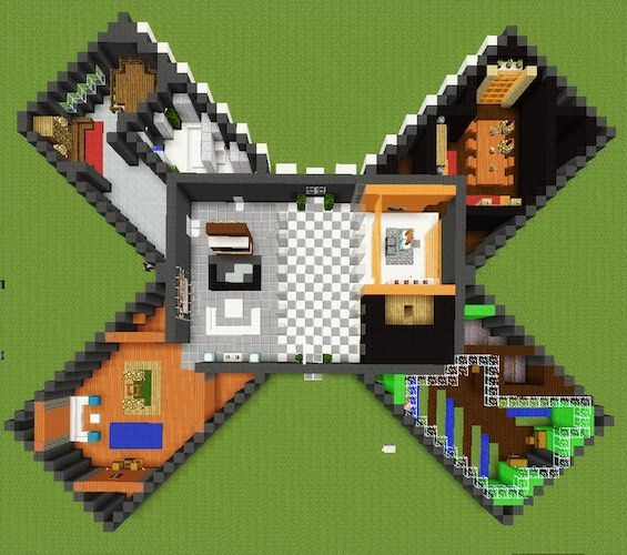 The Minecraft X House has the perfect design to house all that you need. Click on the pic for more photos and a video walkthrough.