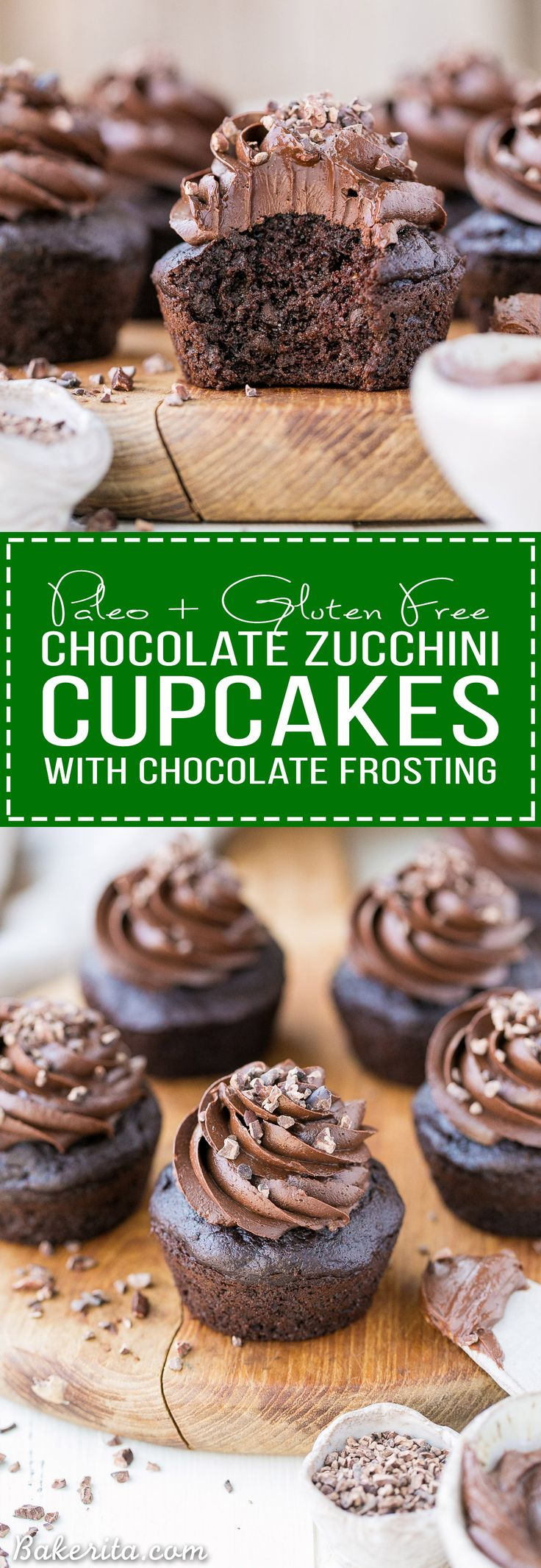 These Paleo Chocolate Zucchini Cupcakes are topped with a rich and fudgy Paleo Chocolate Frosting! You'd never guess there are veggies packed into these super moist and chocolatey cupcakes.