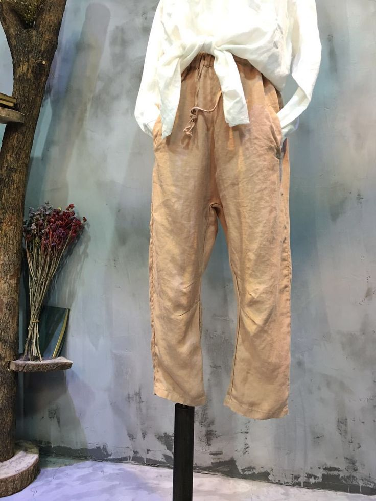 Elastic Waist Casual Linen Pants Plain Elderly Woman Cheap Trousers    #over50 #elderly #casual #linen #pants #cheap #pants #apricot #trousers #woman #fashion #amazing #chic