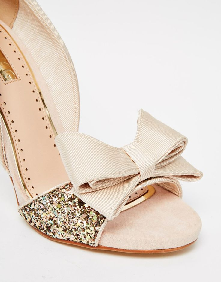 Image 4 Of Miss KG Gabriella Gold Glitter Peep Toe Cut Out Court Shoes