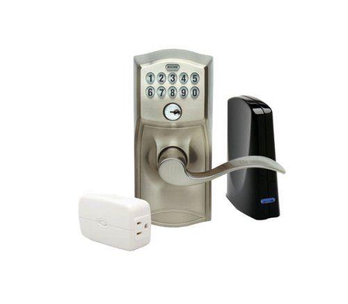 buy schlage link wireless keypad entry lever lock starter kit system satin nickel keyless entrydoor