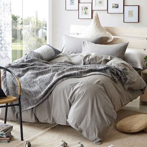 Grey Brief Plaid Design Bedding Set Queen king twin Size Duvet cover set 100% washed Cotton