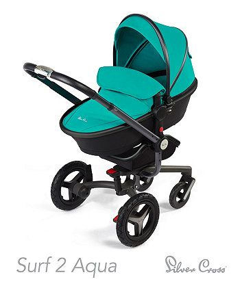 Silver Cross Surf 2 Pram and Pushchair- Aqua *Exclusive To Mothercare* - prams & pushchairs - Mothercare