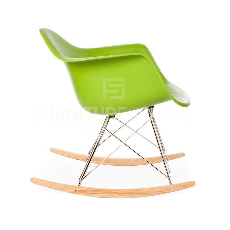 RAR Plastic Lounge Rocking Chair Eames Style - Green