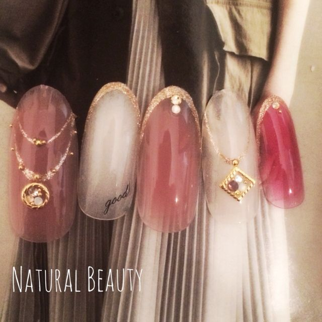 Pink gold and ivory nail