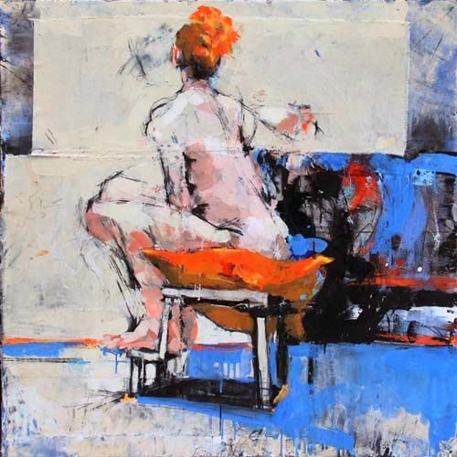 """166-039   Jim Bourke, Life Study, October 4th 2013, mm on canvas, 36""""x36"""". $2500"""