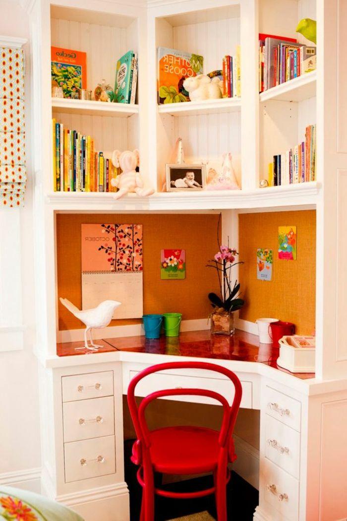fauteuil bureau ergonomique, bureau d'angle enfant, etagere murale en bois