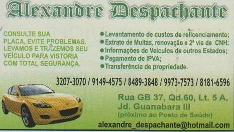 Eu recomendo Alexandre Despachante- Jardim Guanabara III, #Goiânia, #Goiás, #Brasil