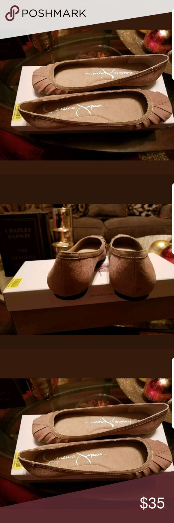 Jessica Simpson size 7 Tan Flats NWOT Jessica Simpson size 7 Tan Flats up 4 grab. Soft suede, very comfortable. Jessica Simpson Shoes Flats & Loafers