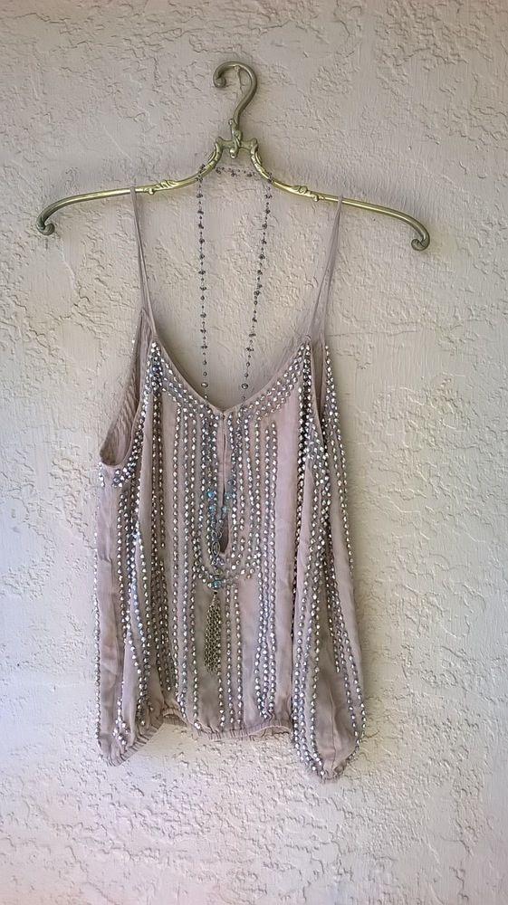 Anthropologie vintage mocha silk beaded New Years Gatsby camisole