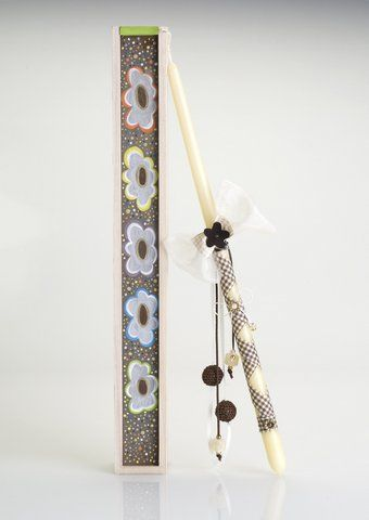 Handmade Easter candle in decorated hand-painted wooden box.