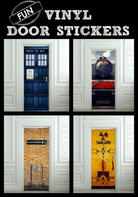 These FUN Vinyl Door Stickers are easy to apply and remove! So many styles to choose from!