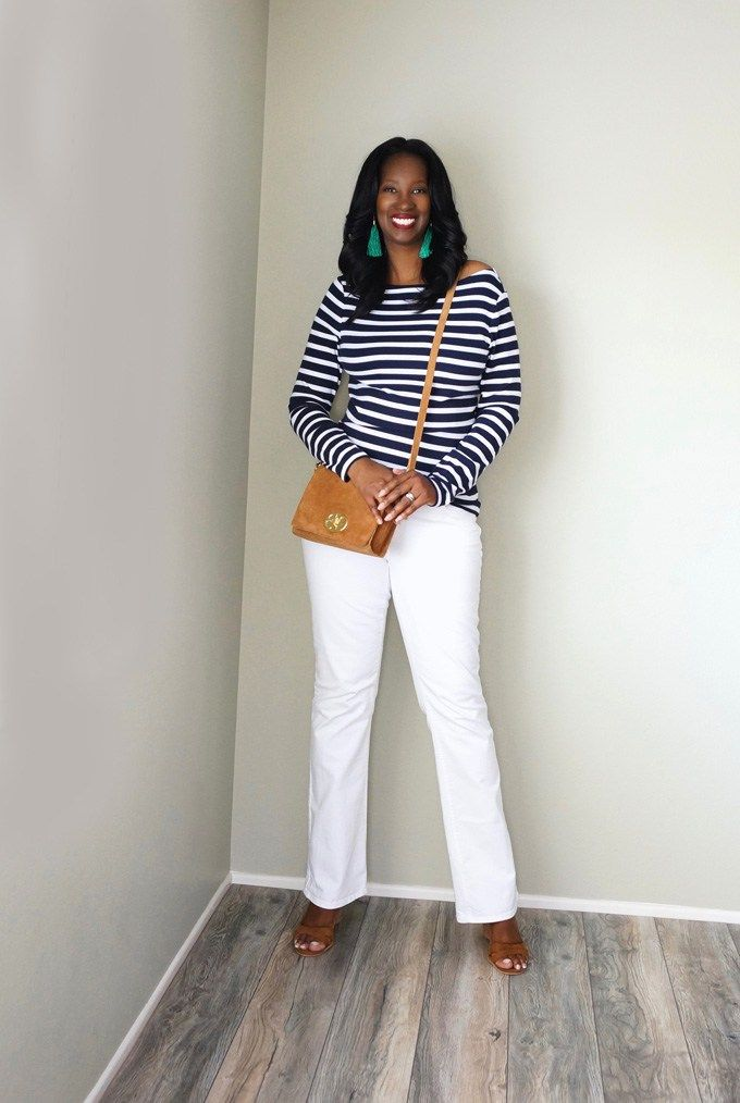 Pretty Tall Style - Tall Women's Fashion - Style Tips and DIY Blog - Navy and White Stripe Tee and White Flare Leg Jeans
