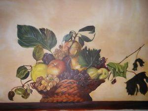 A Caravaggio basket of fruit