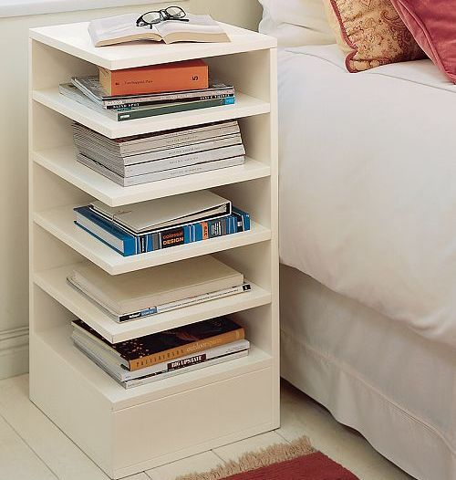 great bedside table: Tables Design, Nightstand, Home Decor, Bedside Tables, End Tables, Night Stands, Guest Rooms, Pottery Barns, Books Storage