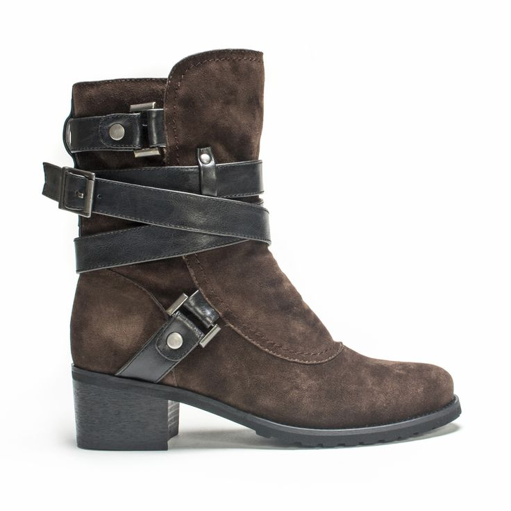Slip your foot into this strap wrapped boot! The Sabra has a warm 100% Polyester fur lining enclosed in a 100% Polyester Faux suede upper. This boot has a wrap strap accent with an adjustable buckle t