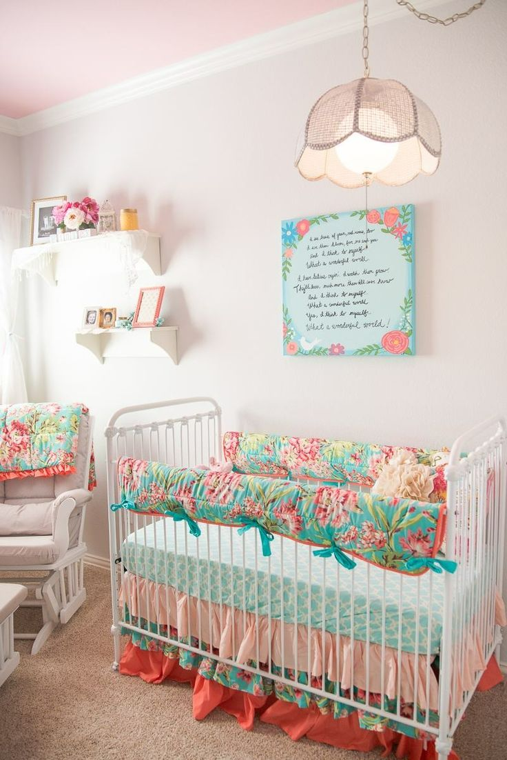 Pink mint and gray baby girl nursery project nursery - Finley S Vintage Floral Nursery Project Nurserynursery Ideasgirl