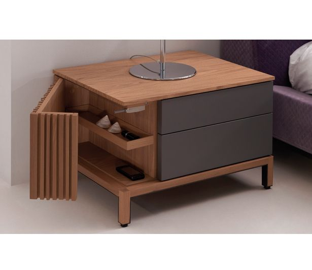 Nightstand with two storage drawers and one slatted door with a 180 degree hinge. Availabe in a variety of lacquer and woods.