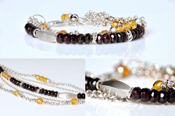 SALE  Boho Bracelet Baltic Amber Jewelry  Garnet by AnnaBujak