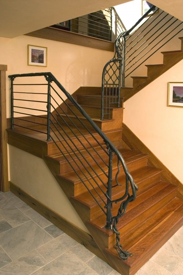 Newel Post Detail We Hand Forged This Wrought Iron Stair