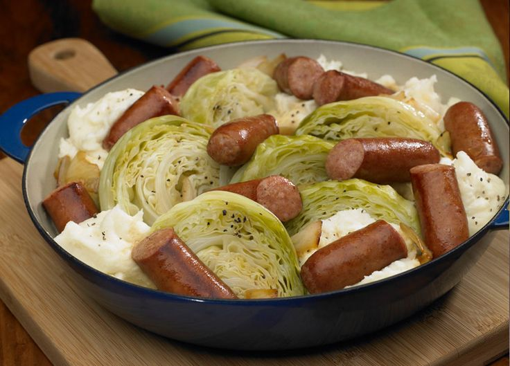Johnsonville Kielbasa Cabbage Skillet with potatoes. Tips from our reviewers: Add a splash of vermouth to caramelize the onions + cabbage for a nice sweetness. Try w/ fresh potatoes, sliced & boiled until tender.