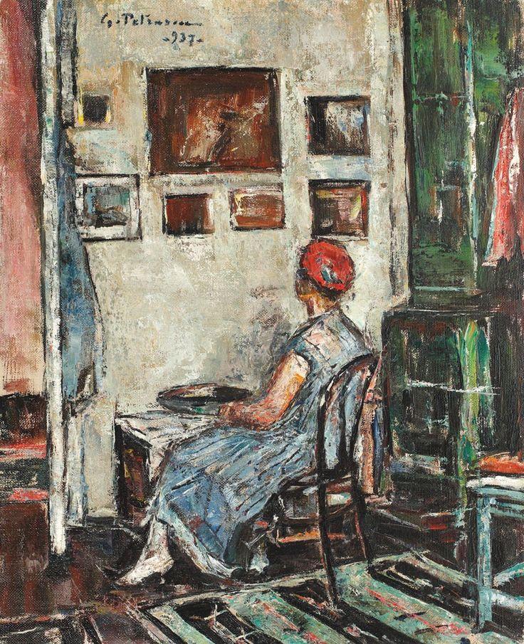 Gheorghe Petraşcu, Interior de atelier (Rochia albastră)