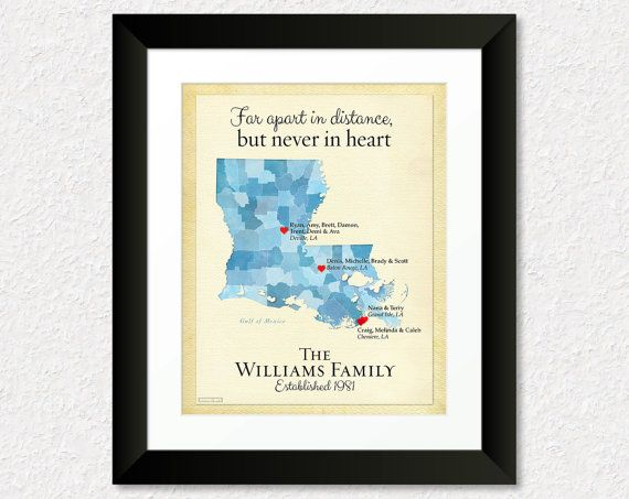 Long Distance Gift for Family, Gift for Dad, Birthday Gift for Mom, Gift for Grandparents, Louisiana Map Print, All States Available
